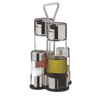 Набор Tescoma Club для масла, уксуса и специй. 650354650354Набор Tescoma для масла, уксуса и специй благодаря своим небольшим размерам не займет много места на вашей кухне. Емкости компактно умещаются на подставке и надежно удерживаются на ней. К подставке прикреплена стальная ручка. Емкости изготовлены из стекла, нержавеющей стали и прочной пластмассы. Очень удобно, когда во время приготовления пищи приправы под рукой! Набор Tescoma станет отличным подарком каждой хозяйке. Характеристики: Материал: стекло, сталь, пластмасса. Высота емкости для специй: 8,5 см. Диаметр емкости для специй: 3,5 см. Высота емкости для масла и уксуса: 15 см. Диаметр емкости для масла и уксуса: 5 см. Размер подставки: 12 см х 11 см. Размер упаковки: 10 см х 11 см х 21 см. Артикул: 650354. Производитель: Чехия. Внимание! Уважаемые клиенты, обращаем ваше внимание на тот факт, что емкости поставляются без масла, уксуса и специй.