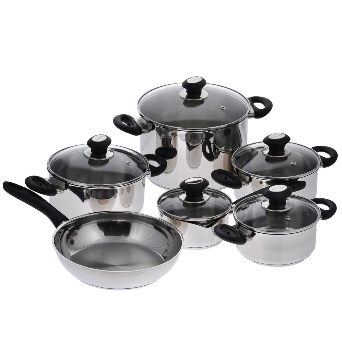 Набор посуды Tescoma Presto, 11 предметов716511Набор посуды Tescoma Presto состоит из 4 кастрюль с крышками, ковша с крышкой и сковороды. Изделия выполнены из первоклассной нержавеющей стали с зеркальной полировкой. Массивная конструкция посуды и идеальная обработка соответствуют самым высоким требованиям, предъявляемым к здоровому, удобному и экономному приготовлению. Изделия снабжены экстра толстым многослойным дном. Тепло с плиты передается вовнутрь посуды постепенно, без скачков и равномерно по целой площади дна - температура внутри посуды не меняется. Это упрощает варку и запекание, можно готовить с ограниченным количеством жира и без пригорания. Многослойное дно обладает замечательными термоаккумуляционными свойствами, которые помогают экономить энергию. Плиту и духовку можно выключить заранее перед окончанием приготовления, которое проходит и при низкой мощности плиты. Блюда, оставленные в посуде, дольше сохраняют свою температуру. Изделия снабжены эргономичными ручками из прочной...