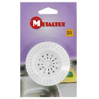 Сито-фильтр для раковины Metaltex, 2 шт29.75.45Сито-фильтр Metaltex имеет специальное углубление для раковины и выполнен из пластика. Сито-фильтр поможет предотвратить засорение вашей раковины. Характеристики: Материал: пластик. Диаметр: 7 см. Количество: 2 шт. Производитель: Италия. Артикул: 29.75.45.