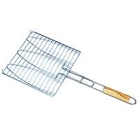 Решетка-гриль Barbecook для рыбы, 27,5 см х 28 см2020-BBQРешетка-гриль Barbecook предназначена для приготовления рыбы на углях. Изготовлена из высококачественной стали. Идеально подходит для мангалов и барбекю. Решетка имеет широкое фиксирующее кольцо на ручке, что обеспечивает надежную фиксацию. Регулируемый объем решетки позволяет запекать продукты разной толщины. Деревянная ручка предохраняет руки от ожогов, а также удобна для обхвата двумя руками, что позволяет легко переворачивать решетку. На решетке можно разместить три рыбы.