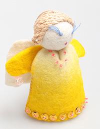 Авторская игрушка 'Ангел'. Шерсть, войлок. Ручная работа