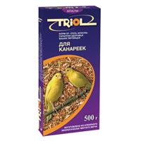 Корм для канареек Triol, 500 гКф-00500Смесь из зерна - это основа корма для канареек. Вместе с зерном они получают огромную долю питательных веществ. Корм специально составлен из самых вкусных и необходимых компонентов, он содержит много волокон, что положительно влияет на пищеварение вашего питомца. Правильно сбалансированный корм поможет вам вырастить и содержать здоровых, веселых и отлично поющих птичек. Состав и калорийность смеси соответствуют меню естественной среды обитания. Состав: овес, просо белое, просо красное, семена конопли, канареечное семя, рапс, лен, семена подсолнечника, луговые травы, йод в легко усвояемой форме, витамины А, В, В2, В6, D, PP.