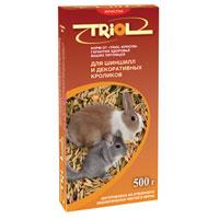 Корм для шиншил и кроликов Triol Криспи, 500 гКф-01300Корм Triol Криспи порадует вашего декоративного кролика или шиншиллу и разнообразит их ежедневный рацион. Специально составлен из экологически чистых, самых вкусных и необходимых компонентов, содержит много волокон, что положительно влияет на пищеварение и помогает поддержать долгую и здоровую жизнь вашему питомцу. Состав: кукуруза, пшеница, овес, просо, травяные гранулы (клевер, вика, люцерна), йод в легко усвояемой форме, витамины А, В, В2, В6, D, PP, сухие овощи и фрукт. Вес: 500 г. Товар сертифицирован.