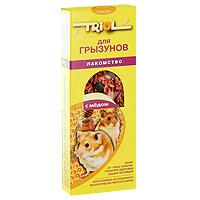 Лакомство для грызунов Triol, с медом, 3 штКф-10300Медовое лакомство для грызунов Triol изготовлено из отборного экологически чистого зерна, для поддержания долгой и здоровой жизни всех видов грызунов. Содержит необходимые компоненты и много волокон, что положительно влияет на пищеварение вашего питомца. Лакомство порадует вашу морскую свинку, хомячка или шиншиллу, крысу или мышку и разнообразит его ежедневный рацион. Состав: ячмень, овес, семя подсолнуха, семя конопли, мед, луговые травы, йод в легко усвояемой форме, витамины А, В, В2, В6, D, PP. Товар сертифицирован.