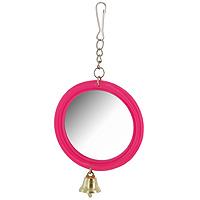 Игрушка для птиц Зеркало с колокольчиком, цвет: розовыйКх-06100Игрушка Зеркало с колокольчиком предназначена для птиц. Такая игрушка не даст скучать вашему питомцу. Она подвешивается на клетку за крючок.Характеристики: Материал: металл. Диаметр: 6,5 см. Артикул: Кх-06100.