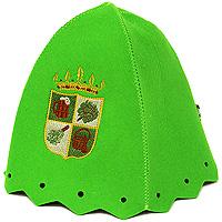 Шапка для бани и сауны Банный герб, цвет: зеленыйБ4710Шапка для бани и сауны, оформленная вышитым изображением в виде герба с банными атрибутами - это незаменимый аксессуар для любителей попариться в русской бане и для тех, кто предпочитает сухой жар финской бани. Необычный дизайн изделия поможет сделать ваш отдых более приятным и разнообразным. Такая шапка станет отличным подарком для любителей отдыха в бане или сауне. Характеристики: Материал: шерсть. Диаметр основания шапки: 36 см. Высота шапки: 22 см. Производитель: Россия. Артикул: Б4710.