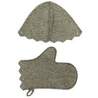 Комплект для бани и сауны, суровыйБ15-1Комплект для бани и сауны включает в себя шапку и рукавицу. Шапка защитит Вас от появления головокружения в бани, Ваши волосы от сухости и ломкости, а голову от перегрева. Рукавица убережет Ваши руки от горячего пара и поможет прекрасно промассировать тело.