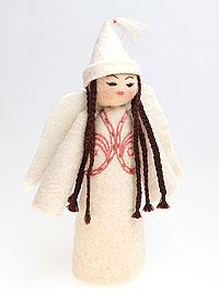 Авторская игрушка 'Ангел с косичками' (Войлок) Ручная работа