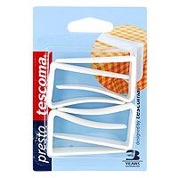 Набор клипс для скатерти Tescoma, 4 шт. 420810420810Набор Tescoma состоит из 4 клипс. Клипсы идеально подойдут для фиксирования скатерти на столе. Изделия выполнены из прочного пластика. Характеристики: Материал: пластик. Высота: 5,5 см. Комплектация: 4 шт. Производитель: Чехия. Артикул: 420810.