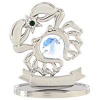 Сувенир Знаки зодиака: Рак, цвет: серебристый, 7,5 смU0260-001-CBLBДекоративное изделие, выполненное в виде знака зодиака Рак, с голубым кристаллом Swarovski посередине, а также с зеленым и двумя бесцветными кристаллами, изготовлено из высококачественной стали. Оригинальный сувенир будет отличным подарком для ваших друзей и коллег. Более 30 лет компания Crystocraft создает качественные, красивые и изящные сувениры, декорированные различными кристаллами Swarovski. Характеристики: Материал: сталь, кристаллы Swarovski. Высота: 7,5 см. Размер упаковки: 9,5 см х 11 см х 4,5 см. Артикул: U0260-001-CBLB. Производитель: Китай.