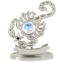 Сувенир Знаки зодиака: Скорпион, цвет: серебристый, 8,5 смU0264-001-CBLBДекоративное изделие, выполненное в виде знака зодиака Скорпион, с голубым кристаллом Swarovski посередине, а также с бордовым и двумя бесцветными кристаллами, изготовлено из высококачественной стали. Оригинальный сувенир будет отличным подарком для ваших друзей и коллег. Более 30 лет компания Crystocraft создает качественные, красивые и изящные сувениры, декорированные различными кристаллами Swarovski. Характеристики: Материал: сталь, кристаллы Swarovski. Высота: 8,5 см. Размер упаковки: 9,5 см х 11 см х 4,5 см. Артикул: U0264-001-CBLB. Производитель: Китай.