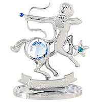 Сувенир Знаки зодиака: Стрелец, цвет: серебристый, 8,5 смU0265-001-CBLBДекоративное изделие, выполненное в виде знака зодиака Стрелец, с голубым кристаллом Swarovski посередине, а также двумя кристаллами синего и изумрудного цветов, изготовлено из высококачественной стали. Оригинальный сувенир будет отличным подарком для ваших друзей и коллег. Более 30 лет компания Crystocraft создает качественные, красивые и изящные сувениры, декорированные различными кристаллами Swarovski. Характеристики: Материал: сталь, кристаллы Swarovski. Высота: 8,5 см. Размер упаковки: 9,5 см х 11 см х 4,5 см. Артикул: U0265-001-CBLB. Производитель: Китай.