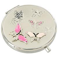 Подарочный набор Розовые бабочкиEG-11257Оригинальный подарочный набор Розовые бабочки, состоящий из косметического зеркальца и закладки для книг, станет идеальным подарком представительнице прекрасного пола, ведь даже самая маленькая дамская сумочка обязательно вместит в себя миниатюрное зеркальце - атрибут каждой модницы, а изящная закладка идеальна для тех, кто не мыслит свою жизнь без книг. Предметы набора выполнены из высококачественной стали серебристого цвета с зеркальной поверхностью и оформлены разноцветными хрустальными стразами. Внутри корпуса зеркала находятся два зеркальца - обычное и увеличивающее. В комплект входит специальный чехол из искусственной замши для хранения зеркальца. Предметы набора упакованы в фирменную подарочную коробку нежного розового цвета.