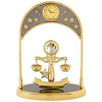 Сувенир с часами Знак зодиака: Весы. 6733067330Сувенир с часами Знак зодиака: Весы, золотого цвета, станет необычным аксессуаром для Вашего интерьера и создаст незабываемую атмосферу. Кристаллы, украшающие сувенир, носят громкое имя Swarovski. Ограненные, как бриллианты, кристаллы блистают сотнями тысяч различных оттенков. Эта очаровательная вещь послужит отличным подарком близкому человеку, родственнику или другу, а также подарит приятные мгновения и окунет Вас в лучшие воспоминания.