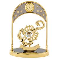 Сувенир с часами Знак зодиака: Скорпион, цвет: золотой67331Сувенир с часами Знак зодиака: Скорпион, золотого цвета, станет необычным аксессуаром для Вашего интерьера и создаст незабываемую атмосферу. Кристаллы, украшающие сувенир, носят громкое имя Swarovski. Ограненные, как бриллианты, кристаллы блистают сотнями тысяч различных оттенков. Эта очаровательная вещь послужит отличным подарком близкому человеку, родственнику или другу, а также подарит приятные мгновения и окунет Вас в лучшие воспоминания. Характеристики: Материал: металл (углеродистая сталь, покрытие золотом 0,05 микрон), австрийские кристаллы. Размер: 13,5 см х 10 см х 4,5 см. Диаметр циферблата часов: 2 см. Цвет: золотой. Размер упаковки: 14 см х 7,5 см х 10,5 см. Изготовитель: Польша. Артикул: 67331. Более чем 30 лет назад компания Crystocraft выросла из ведущего производителя в перспективную торговую марку, которая задает тенденцию благодаря безупречному чувству красоты и стиля. Компания создает изящные,...