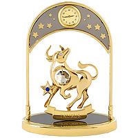 Сувенир с часами Знак зодиака: Телец, цвет: золотой67325Сувенир с часами Знак зодиака: Телец, золотого цвета, станет необычным аксессуаром для Вашего интерьера и создаст незабываемую атмосферу. Кристаллы, украшающие сувенир, носят громкое имя Swarovski. Ограненные, как бриллианты, кристаллы блистают сотнями тысяч различных оттенков. Эта очаровательная вещь послужит отличным подарком близкому человеку, родственнику или другу, а также подарит приятные мгновения и окунет Вас в лучшие воспоминания.