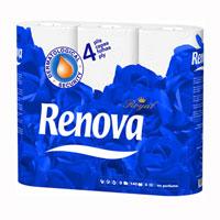 Туалетная бумага Renova Royal, ароматизированная, 9 рулонов200045194Ароматизированная туалетная бумага Renova Royal - изысканная роскошь повседневности. Четырехслойная туалетная бумага с нежным ароматом прочная и очень мягкая. Ароматизированная туалетная бумага Renova Royal подарит коже комфорт и нежность. Характеристики: Материал: 100% парфюмированная целлюлоза. Количество листов: 140 шт. Количество слоев: 4. Размер листа: 11,5 см х 9,7 см. Длина рулона: 16,1 м. Количество рулонов: 9 шт. Производитель: Португалия. Товар сертифицирован. Португальская компания Renova является ведущим разработчиком новейших технологий производства, нового стиля и направления на рынке гигиенической продукции. Современный дизайн и высочайшее качество, дерматологический контроль - это то, что выделяет компанию Renova среди других производителей бумажной санитарно-гигиенической продукции.