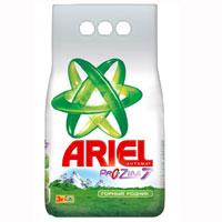 Стиральный порошок Ariel, автомат, горный родник, 3 кгAS-81490151Стиральный порошок Ariel предназначен для стирки в стиральных машинах любого типа. Он эффективно отстирывает различные пятна. В состав порошка входят специальные полимеры, которые отбеливают и сохраняют белизну вещей надолго, а также разглаживают хлопковые волокна. Стиральный порошок отлично отстирывает даже в холодной воде, потому что содержит специальные энзимы, которые начинают работать уже при низких температурах. Порошок содержит компоненты, помогающие защитить стиральную машину от накипи и известкового налета.