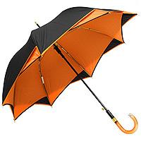 Зонт-трость Etoille, цвет: черный, оранжевый02 GDJЭлегантный зонт-трость Etoille, выполненный в черном и оранжевом цветах, станет оригинальным дополнением к вашему наряду, а также поможет создать неповторимый образ, полный романтичности, женственности и кокетства. Такой зонт даже в ненастную погоду позволит вам оставаться стильной и эффектной. Каркас зонта выполнен из восьми спиц. Зонт складывается вручную. Удобная рукоятка из пластика выполнена в форме полукруга. Зонты-трости имеют более простую конструкцию и потому более надежны.