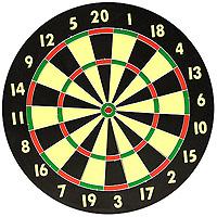 Набор для игры в дартс. DG521810BDG521810BНабор для игры в дартс состоит из мишени и шести дротиков. Мишень изготовлена из прессованной бумаги с напечатанными цифрами. Игра в дартс - это состязание в умении точно метать дротики, которого при желании можно достичь в относительно короткий срок. Играть в дартс можно как под открытым небом, так и в закрытом помещении (в спортивном зале, в кафе, в обычной квартире). Дартс не требует специальной спортивной формы, а инвентарь для игры прост и долговечен. Для играющих в дартс не существует языковых и возрастных барьеров, соревноваться могут и взрослые, и дети. Дартс доступен всем, он гуманен и демократичен. Дартс - на редкость увлекательная и зрелищная игра. Это прекрасное средство для проведения досуга и поднятия настроения. Это - игра друзей, игра среди друзей, игра, помогающая обрести друзей. Кроме всего прочего дартс, как и любой вид спорта, несет и пользу. Метание дротиков способствует развитию мелкой моторики, улучшает зрение, концентрацию, развивает...