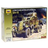 Сборная модель Советский бронеавтомобиль БА-103617Сборная модель Советский бронеавтомобиль БА-10 привлечет внимание не только ребенка, но и взрослого и позволит своими руками создать уменьшенную копию известного боевого автомобиля. В 1938 году начался выпуск бронеавтомобиля БА-10 на базе трехосного автомобиля ГАЗ-ААА. Корпус состоял из катаных броневых листов. В кормовой части корпуса устанавливалась башня, с 45-мм пушкой и спаренным с ней 7,62-мм пулеметом. Курсовой 7,62-мм пулемет ДТ устанавливался в шаровой установке в лобовом листе корпуса рядом с водителем. Экипаж машины состоял из 4 человек.