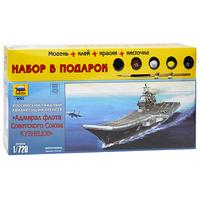 Набор для сборки и раскрашивания Российский тяжелый авианесущий крейсер Адмирал Кузнецов9002ПРоссийский тяжелый авианесущий крейсер Адмирал Кузнецов - первый советский авианосец, оснащенный современными самолетами морского базирования - истребителями Су-33. Его строительство было начато в сентябре 1982 года. Адмирал Кузнецов оснащен противовоздушными и противокорабельными ракетами, позволяющими ему успешно защищаться на средних и дальних дистанциях против флота предполагаемого противника. С набором для сборки и раскрашивания Российский тяжелый авианесущий крейсер Адмирал Кузнецов у вас появилась уникальная возможность своими руками создать уменьшенную копию известного корабля. Набор включает в себя элементы для сборки модели, клей, кисть и четыре акриловых краски. Краски обладают свойствами обычных нитрокрасок, разбавляются водой, не имеют запаха, а после высыхания не стираются и не смываются.