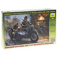 Набор миниатюр Немецкий мотоцикл БМВ Р-12 с коляской и экипажем3607Набор миниатюр Немецкий мотоцикл БМВ Р-12 с коляской и экипажем включает в себя элементы для сборки трех миниатюр немецких солдат и мотоцикла. Немецкий мотоцикл концерна БМВ - Р-12 -производился с 1935 по 1942 год. За этот период построили более 36000 БМВ Р-12 в военном и гражданском вариантах. Благодаря высокой надежности при значительно более низкой, по сравнению со специальными армейскими мотоциклами BMW R-75 и KS-750 цене, BMW R-12 стал самым массовым мотоциклом в немецкой армии. На Р-12 доставляли боеприпасы и горячую пищу, эвакуировали в тыл раненых, доставляли донесения, отправлялись в разведку: трудно перечислить все армейские специальности этой машины. Кроме того, БМВ Р-12 массово использовали в качестве боевого средства в специальных мотоциклетных подразделениях, где на коляску устанавливали пулемет.