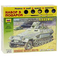 Набор для сборки и раскрашивания Немецкий бронетранспортер Ханомаг Sd.Kfz. 251/10 Ausf B с 37-мм орудием3588ПSd.Kfz. 251/10 - боевая машина командиров мотопехотных взводов. Экипаж 5 человек. В передней части ставилась легкая противотанковая пушка РаК 35/36, прозванная в войсках Колотушкой. На корме устанавливается пулемет MG или противотанковое ружье PzB39. На Восточном фронте, где приходилось воевать против советских средних и тяжелых танков с противоснарядным бронированием, неэффективность малокалиберного оборудования быстро стала очевидной. Тем не менее, лишь ко второй половине войны Sd.Kfz. 251/10 были выведены из строевых частей. С набором для сборки и раскрашивания Немецкий бронетранспортер Ханомаг Sd.Kfz. 251/10 Ausf B с 37-мм орудием у вас появилась уникальная возможность своими руками создать уменьшенную копию известной боевой машины. Набор включает в себя элементы для сборки модели, клей, кисть и четыре акриловые краски. Краски обладают свойствами обычных нитрокрасок, разбавляются водой, не имеют запаха, а после высыхания не стираются и не смываются.