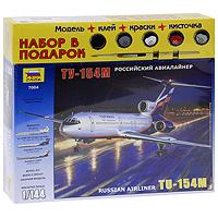 Набор для сборки и раскрашивания Российский авиалайнер Ту-154М7004ПСреднемагистральный пассажирский самолет Ту-154М, разработанный в КБ им. А.Н.Туполева, выпускался серийно с 1984 года. Этот лайнер является одним из самых массовых российских пассажирских самолетов. Ту-154 способен перевозить до 158 пассажиров на расстояние до 3500км со скоростью до 950 км/ч. Ту-154 М является одним из немногих отечественных пассажирских самолетов, поставляемых на экспорт. С набором для сборки и раскрашивания Российский авиалайнер Ту-154М у вас появилась уникальная возможность своими руками создать уменьшенную копию известного самолета. Набор включает в себя элементы для сборки модели, клей, кисть и четыре акриловые краски. Краски обладают свойствами обычных нитрокрасок, разбавляются водой, не имеют запаха, а после высыхания не стираются и не смываются.