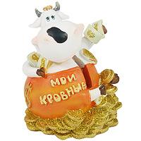 Копилка Денежная Корова. 19220D19220Забавная копилка Денежная корова станет оригинальным украшением интерьера и вызовет улыбку у каждого, кто ее увидит. Копилка выполнена в виде симпатичной коровы, сидящей на россыпи золотых монет. Копилка украшена блестками. Деньги вынимаются путем открывания пластикового клапана, расположенного на дне копилки. Копилка - это оригинальный и нужный подарок на все случаи жизни. Характеристики: Материал: полистоун. Размер копилки: 7 см х 8 см х 6,5 см. Производитель: Китай. Артикул: 19220D.