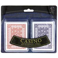 Набор игральных пластиковых карт Casino, 2 колодыMARP01065AНабор игральных пластиковых карт Casino состоит из двух колод карт, с красной и фиолетовой рубашкой. Карты без маркировки, прочные и гибкие. Колода включает карту Хэнд Рэнк.