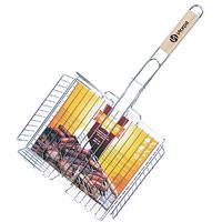 Решетка-гриль Искра для курицы, глубокая, 31 х 25 смRDG-46Решетка Искра предназначена для приготовления курицы на углях. Изготовлена из высококачественной стали с пищевым никелированным покрытием. Идеально подходит для мангалов и барбекю. Решетка имеет широкое фиксирующее кольцо на ручке, что обеспечивает надежную фиксацию. Специальная деревянная ручка предохраняет руки от ожогов, а также удобна для обхвата двумя руками, что позволяет легко переворачивать решетку. Характеристики: Материал: сталь. Размер решетки: 31 см x 25 см. Высота решетки: 5 см. Длина ручки: 34 см. Производитель: Россия. Изготовитель: Китай. Артикул: RDG-46.