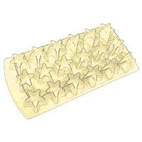 Форма для льда Звезда, цвет: желтый, 18 ячеек25.35.27Форма для льда Звезда выполнена из силикона. На одном листе расположены 18 формочек в виде звезд. Благодаря тому, что формочки изготовлены из силикона, готовый лед вынимать легко и просто. Чтобы достать льдинки, эту форму не нужно держать под теплой водой или использовать нож. Теперь на смену традиционным квадратным пришли новые оригинальные формы для приготовления фигурного льда, которыми можно не только охладить, но и украсить любой напиток. В формочки при заморозке воды можно помещать ягодки, такие льдинки не только оживят коктейль, но и добавят радостного настроения гостям на празднике! Характеристики: Материал: силикон. Размер общей формы: 11,5 см х 22,5 см х 2,5 см. Размер формочки: 3,5 см х 2,5 см. Цвет: желтый. Производитель: Италия.