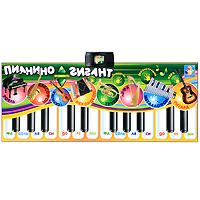 Музыкальный коврик Пианино-ГигантТ51677Яркий музыкальный коврик Пианино-Гигант привлечет внимание малыша и доставит ему много удовольствия от часов, посвященных игре с ним. На поверхности коврика располагаются сенсорные кнопки в виде 24 клавиш пианино, 14 белых и 10 черных, изображения 8 музыкальных инструментов, кнопки регулировки громкости, демонстрации, записи мелодий и их воспроизведения. Коврик имеет четыре функции: запись, воспроизведение, демонстрация и игра. Ребенок может записать 80 различных мелодий, а затем прослушать их. При включенной функции Демонстрация ребенок сможет прослушать записанные в память пианино мелодии, нажимая на черные клавиши, а во время функции Игра можно устроить уникальный концерт, используя клавиши пианино и кнопки с изображением музыкальных инструментов. С помощью этого коврика ребенок разовьет свои музыкальные способности и порадует друзей и близких великолепным концертом. Порадуйте его таким великолепным подарком!
