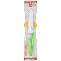 Нож поварской Hatamoto, 15 см, цвет: зеленыйHC150W-GRNПоварской нож Hatamoto изготовленный из керамики, превосходно подойдет для любого приготовления и разделывания продуктов. Ручка ножа имеет элегантный, современный и яркий вид, который подойдет к интерьеру любой кухни. Такой нож займет достойное место среди аксессуаров на вашей кухне. Основные характеристики ножа Hatamoto: - при правильном использование не нуждается в заточке - не царапается в процессе резки - не боится моющих средств - весит меньше металлических ножей - не окисляется - на ноже не остается грязных пятен - не ржавеет. Дополнительные преимущества керамических ножей Hatamoto: - колоссальная острота и износостойкость режущей кромки, в духе и лучших традициях японских мастеров - не требуют заточки в течение 4-5 лет, потому что циркониевая керамика уступает по твердости только алмазу - не оставляют послевкусия, потому что не вступают в реакцию ни с какими...
