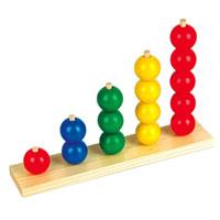 Пирамидки-счет ШарыД079Пирамидки-счет Шары непременно понравятся малышу и позволят ему в игровой форме освоить счет. Пирамидка представляет собой деревянную основу с пятью столбиками, на которые надеваются шарики одного цвета. В набор входят 15 деревянных шаров красного, синего, зеленого и желтого цветов. Удобная форма элементов пирамидки позволит малышу с легкостью держать их и играть с ними, развивая логику, цветовое восприятие, координацию движений и мелкую моторику рук.