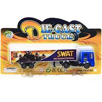 Грузовик Swat International11353Грузовик Swat International является миниатюрной копией настоящего грузовика. Игрушка, изготовленная из металла и пластмассы, порадует вашего малыша. Ваш ребенок часами будет играть с машинкой, придумывая различные истории. Порадуйте его таким замечательным подарком! Характеристики: Материал: металл, пластик. Размер: 17 см х 2,5 см х 4,5 см. Размер упаковки: 21 см х 12,5 см x 3,5 см.
