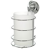 Стакан для ванной комнаты EverLoc с держателем. 1020910209Удобный стаканчик EverLoc предназначен для хранения различных предметов для гигиенических процедур. Стакан выполнен из пластика. Он устанавливается в специальный держатель из хромированной стали, который крепится к поверхности стены с помощью присоски. Такой стаканчик отлично подойдет к интерьеру вашей ванной комнаты. Характеристики: Материал: пластик, хромированная сталь. Высота стакана: 12 см. Диаметр по верхнему краю: 8 см. Размер держателя: 15 см х 9 см х 10 см. Размер упаковки: 12,5 см х 10 см х 16 см. Производитель: Швейцария. Артикул: 10209.
