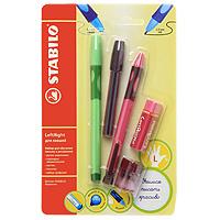Набор Stabilo Leftright для левшей, цвет: розовый, зеленый, 5 предметов6318/41-5В роз/зелНабор пишущих принадлежностей STABILO LeftRight д/левшей 5предметов в блистере. (В наборе: шариковая ручка, механический карандаш, грифели для м/карандаша, точилка для грифеля, ластик) Шариковая ручка, механический карандаш, точилка для грифеля имеют маркировку R-для правшей или L-для левшей. Корпусы ручки и механического карандаша трехгранной формы изготовлены из пластика. Зона обхвата трехгранной формы из материала, предотвращающего скольжение пальцев. Ее форма обеспечивает естественное положение пальцев при письме и обеспечивает максимально комфортное письмо для детской руки. Углубления на зоне обхвата показывают ребенку, где располагать пальцы при письме, тем самым обеспечивают правильное положение пальцев ребенка при письме и помогают выработать у ребенка навык правильно держать пишущий инструмент. Длина и вес ручки и карандаша уменьшены, чтобы исключить неблагоприятное воздействие рычага и минимизировать усилия, которые прилагает ребенок при письме. ...