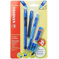 Набор Stabilo Leftright для правшей, цвет: голубой, 5 предметов6328/41-5В голНабор пишущих принадлежностей STABILO LeftRight д/правшей 5предметов в блистере.(В наборе: шариковая ручка, механический карандаш, грифели для м/карандаша, точилка для грифеля, ластик). Шариковая ручка, механический карандаш, точилка для грифеля имеют маркировку R-для правшей или L-для левшей. Корпусы ручки и механического карандаша трехгранной формы изготовлены из пластика. Зона обхвата трехгранной формы из материала, предотвращающего скольжение пальцев. Ее форма обеспечивает естественное положение пальцев при письме и обеспечивает максимально комфортное письмо для детской руки. Углубления на зоне обхвата показывают ребенку, где располагать пальцы при письме, тем самым обеспечивают правильное положение пальцев ребенка при письме и помогают выработать у ребенка навык правильно держать пишущий инструмент. Длина и вес ручки и карандаша уменьшены, чтобы исключить неблагоприятное воздействие рычага и минимизировать усилия, которые прилагает ребенок при письме. ...