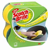 Губка для посуды Scotch-Brite Comfort, 2 штRN-0009-6109-4Набор из 2 губок Scotch-Brite Comfor предназначен для мытья посуды. Лучшая губка для вашей кухни! Идеально удаляет жир, грязь и пригоревшую пищу. Отлично подходит как для посуды, так и для любой другой поверхности. Для удобства применения с одной стороны губки нанесен абразивный слой. Губки сохраняют чистоту и свежесть даже после многократного применения, а их эргономичная форма удобна для руки. Характеристики: Материал: сложные полимеры. Размер: 12,5 см х 6 см х 5 см. Количество: 2 шт. Изготовитель: Испания.