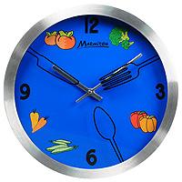 Часы настенные Кухонные, кварцевые, цвет: синий11252Настенные кварцевые часы Кухонные своим дизайном подчеркнут стильность и оригинальность интерьера Вашей кухни. Циферблат часов синего цвета с изображением овощей помещен в алюминивую круглую оправу. Часы имеют две стрелки - часовую и минутную. Циферблат часов защищен стеклом, на котором изображены ложка, нож и вилка. Такие часы послужат отличным подарком для ценителя ярких и качественных вещей.