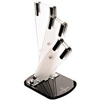Подставка для ножей Hatamoto. FST-R-003FST-R-003Универсальная подставка для ножей Hatamoto позволяет удобно и безопасно хранить ножи, чтобы риск пораниться был сведен к минимуму. Корпус подставки изготовлен из высококачественного, пищевого пластика. Подставка рассчитана на три ножа. Она очень устойчива и не упадет, когда вы будете вынимать из нее ножи. Ножи всегда будут у вас под рукой. Она легко моется, что обеспечивает гигиеничность такого вида подставок.
