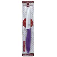 Нож универсальный Hatamoto, 11 см, цвет: фиолетовыйHC110W-PURУниверсальный нож Hatamoto изготовленный из керамики, превосходно подойдет для любого приготовления и разделывания продуктов. Ручка ножа имеет элегантный, современный и яркий вид, который подойдет к интерьеру любой кухни. Такой нож займет достойное место среди аксессуаров на вашей кухне. Основные характеристики ножа Hatamoto: - при правильном использование не нуждается в заточке - не царапается в процессе резки - не боится моющих средств - весит меньше металлических ножей - не окисляется - на ноже не остается грязных пятен - не ржавеет. Дополнительные преимущества керамических ножей Hatamoto: - колоссальная острота и износостойкость режущей кромки, в духе и лучших традициях японских мастеров - не требуют заточки в течение 4-5 лет, потому что циркониевая керамика уступает по твердости только алмазу - не оставляют послевкусия, потому что не вступают в реакцию ни с какими...