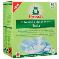 Таблетки для мытья посуды Frosch, для посудомоечной машины, 30 шт709190Таблетки Frosch предназначены для мытья посуды в посудомоечной машине. Это сильнодействующее и интенсивное средство, обладающее всеми функциями современных таблеток для идеальной чистоты и блеска посуды. Формула с натуральной содой отмывает даже засохшие остатки пищи. Предотвращает помутнение стекла и сохраняет блеск. Средство надежно предупреждает образование известкового налета. Таблетки эффективны даже при низкой температуре. Они предусмотрены специально для того, чтобы использовать правильное количество продукта в зависимости от степени загрязнения посуды. Торговая марка Frosch специализируется на выпуске экологически чистой бытовой химии. Для изготовления своей продукции Frosch использует натуральные природные компоненты. Ассортимент содержит все необходимое для бережного ухода за домом и вещами. Продукция торговой марки Frosch эффективно удаляет загрязнения, оберегает кожу рук и безопасна для окружающей среды. Состав: 15-30%...