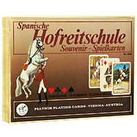 Набор сувенирных игральных карт Spanische Hofreitschule, 2 x 55 листов2128Набор Spanische Hofreitschule(Испанская придворная школа верховой езды) состоит из двух колод игральных карт. В основу оформления колод легли изображения королевских особ. На рубашках карт изображен всадник с конем. Эти карты послужат замечательным подарком и доставят вам удовольствие от игры. Карты упакованы в подарочную коробку золотистого цвета.