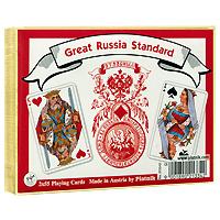 Набор игральных карт Piatnik Русский стандарт, 2 колоды2133Набор Русский стандарт состоит из двух колод игральных карт с традиционной русской рубашкой и оформлением. Эти карты послужат замечательным подарком и доставят вам удовольствие от игры. Карты упакованы в подарочную коробку золотистого цвета.