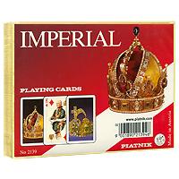 Набор игральных карт Piatnik Imperial, 2 колоды2139Набор Imperial состоит из двух колод игральных карт. В основу оформления рубашек карт легли изображения императорских корон. Карты выполнены из картона с пластиковым покрытием. Карты упакованы в подарочную коробку золотистого цвета. Такой набор послужит замечательным подарком и доставят вам удовольствие от игры.