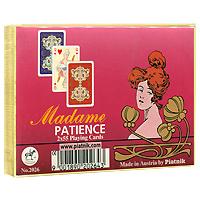 Набор игральных карт Piatnik Мадам Пасьянс, 2 колоды2026Набор Мадам Пасьянс состоит из двух колод игральных карт. Карты оформлены синей и красной рубашкой с золотистым орнаментом. Эти карты послужат замечательным подарком и доставят вам удовольствие от игры. Карты упакованы в подарочную коробку золотистого цвета.