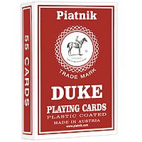Карты игральные профессиональные Piatnik Дюк, 55 карт1357Карты Дюк подходят для профессиональных игроков в покер и другие карточные игры, так как имеют очень гладкую поверхность, высококачественное покрытие и стандартный покерный размер.